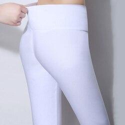 Женские брюки-карандаш с высокой талией, повседневные Леггинсы карамельных цветов большого размера 5XL 6XL, белые, черные, красные