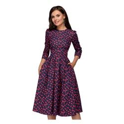 Женское платье-трапеция в обтяжку S.FLAVOR, винтажное элегантное праздничное платье с принтом и рукавом 3/4, лето 2019