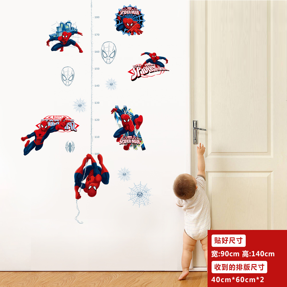 Spider Man height ruler Wall Sticker Creative Printed Superhero PVC Wall Decal for Kids Room Bedroom Home Decor
