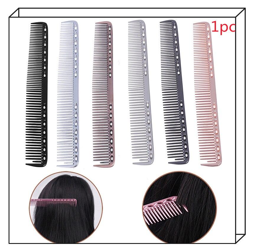 HOT 1pc Hairdressing & Barbers Salon Combs Fashion Men Women Aluminum Metal Cutting Comb Hair Anti-static 7colors