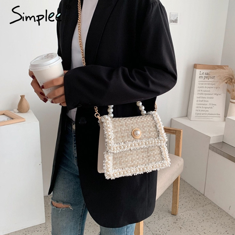 Elegant plaid women hand bag Bead floral cotton linen shoulder bag Solid pearl chain strap autumn holiday chic tote bag