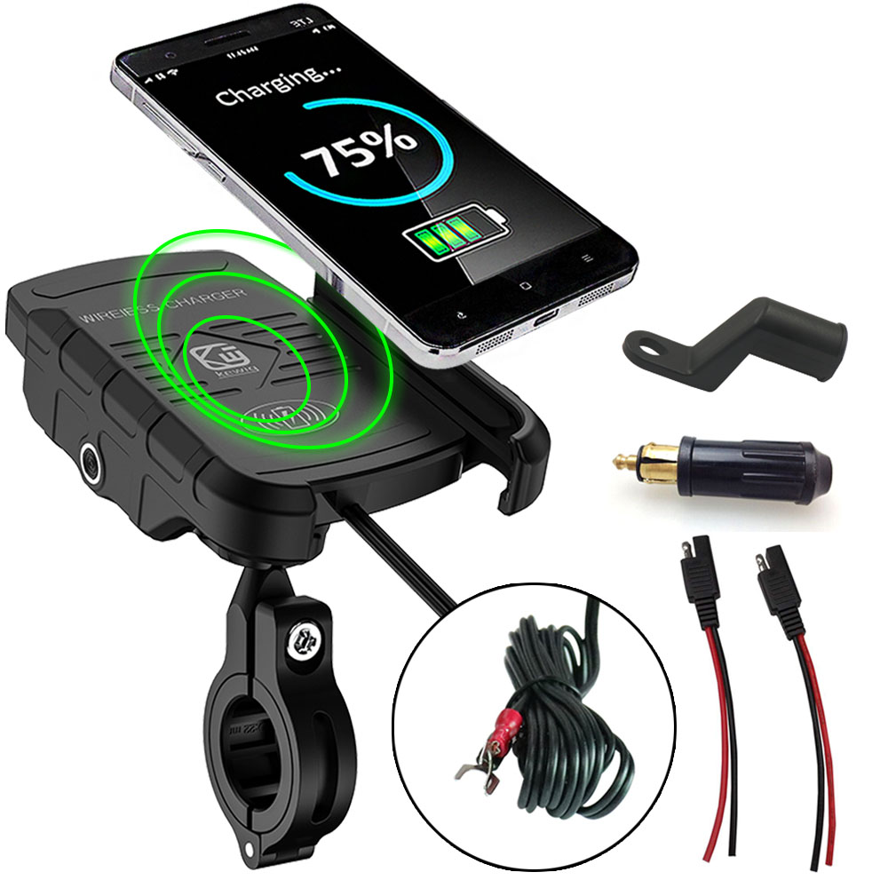 "Adjustable 3.5-7/"" Mobile Phone GPS Mount Holder USB Charger For 12V Scooter MTB"