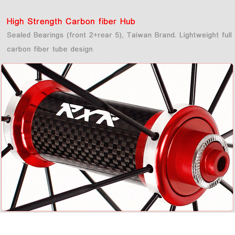 RXR 700C Bike Wheelset Carbon Hub Road Bike Bicycle F&R Wheels Wheelset Clincher Sealed Bearings 7-11 Speed V Brake (7)
