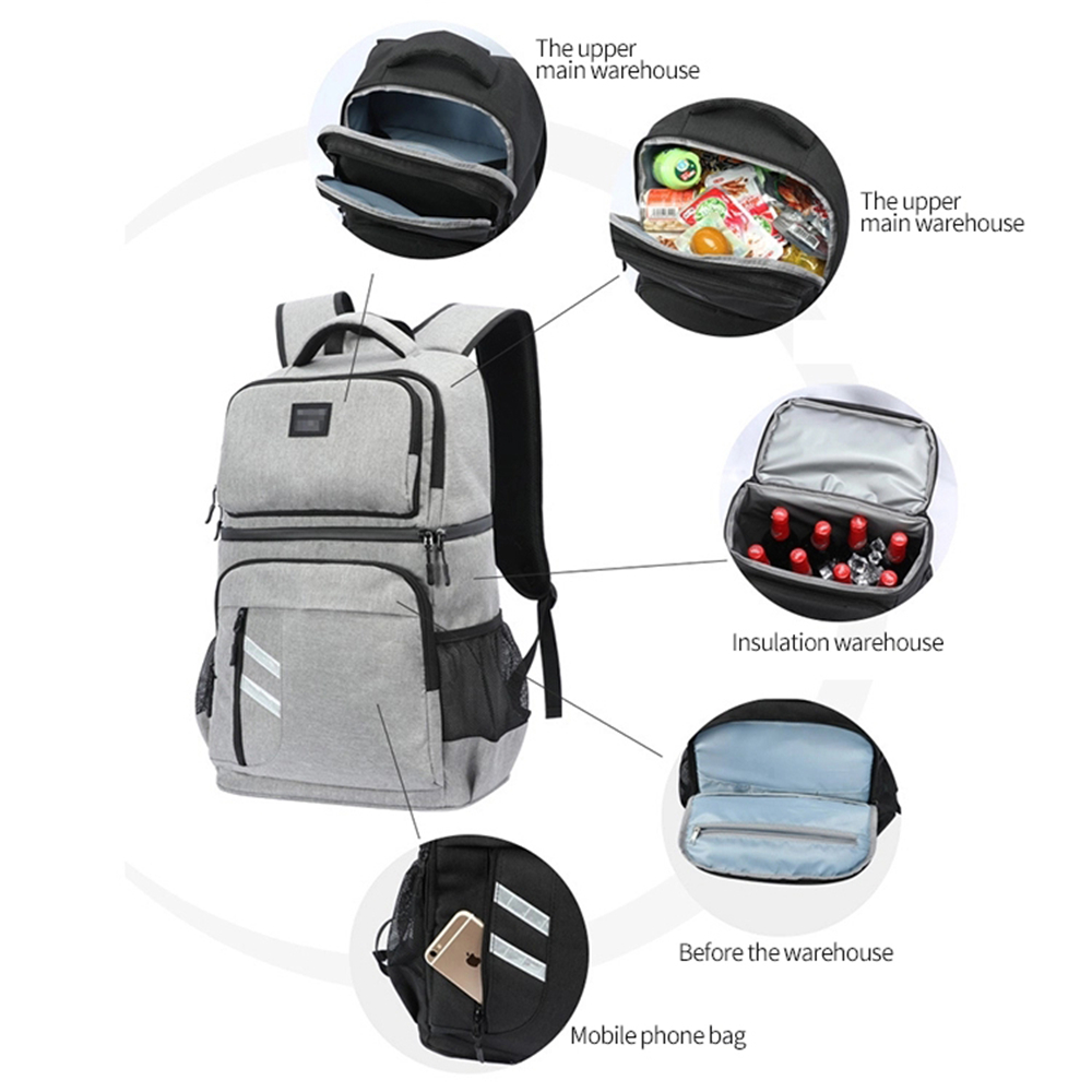 32L Travel Picnic Cooler Bag Outdoor Leakproof Ice Wine Beer Backpack Hiking Tote Thermal Bags Keep Fresh Foods Fruits Container