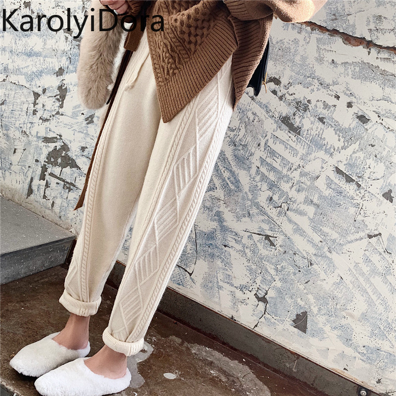 Thicken Women Harem Pants Casual Drawstring Twisted Knitted Pants Femme Chic Warm Female Sweater Trousers 2019 Winter