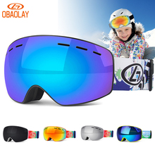 Sunglasses Snow-Eyewear Skating Ski-Goggles Children Kids Double-Layers Windproof Anti-Fog