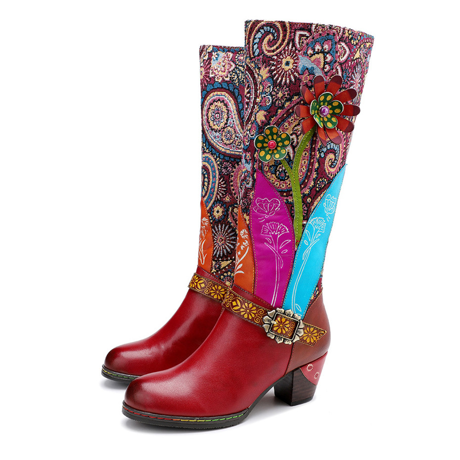 D Knight Luxury Boots Shoes Woman Retro Genuine Leather Casual Women's Knee High Boot Handmade Ethnic Female Western Cowboy Boot (9)