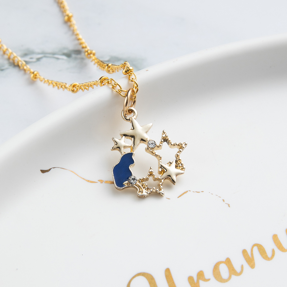 Anime Character Cartoon Necklaces Women Girl Children Christmas Deer Stocking Santa Claus Planet Moon Star Necklace&Pendant Gift (39)