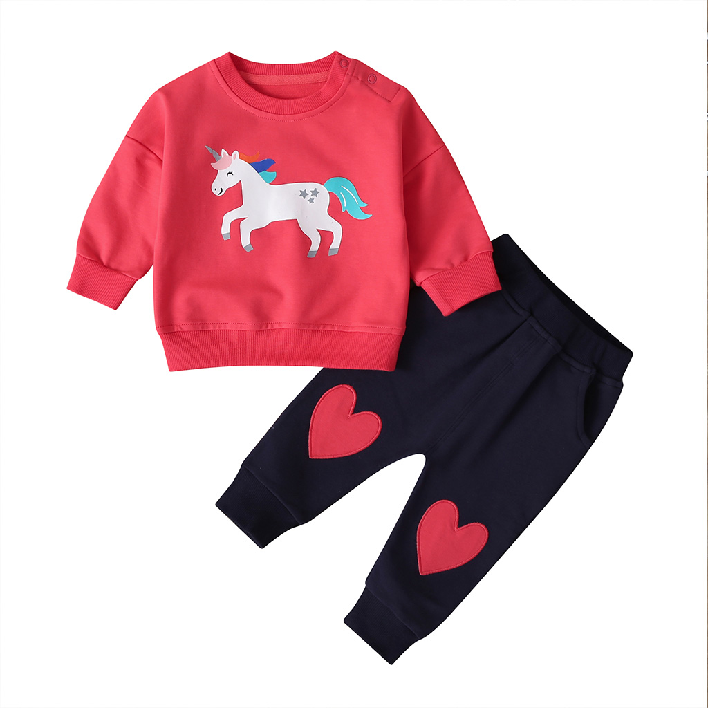 baby girl cartoon clothes unicorn long sleeve Sweater+pants newborn 2 pieces clothing set cute new born outfit 2019 0-24 month