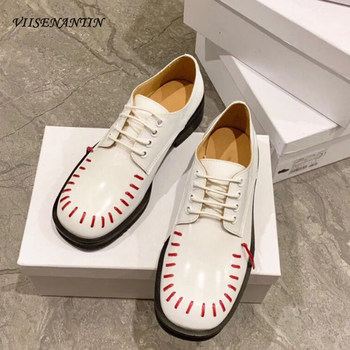 Small Leather Shoes Female 2021 Early Spring New Leather British Style Flat-bottomed Thick Heel Round Toe Pedal All-match  Shoes