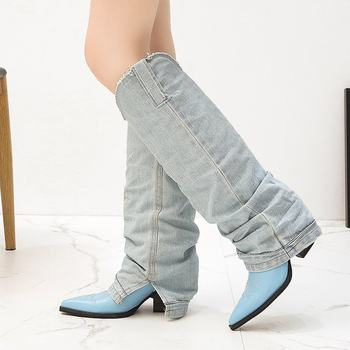 Stretch Deinm Knee High Boots 2020 Autumn New Women Shoes Blue High Heels Boot For Ladies botas retro mujer Brand lhcgy
