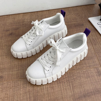 Genuine Leather White Shoes Women Platform Sneakers for Women Spring 2021 New Black Casual Shoes Female Flat Form Sneakers