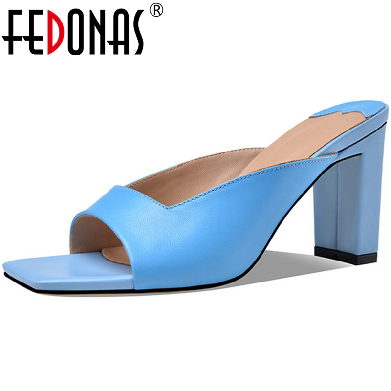 FEDONAS Sweet Classic Design Women'S Summer Shoes 2020 Genuine Leather Thick Heels Pumps Cool Wedding Casual Famale Shoes Woman