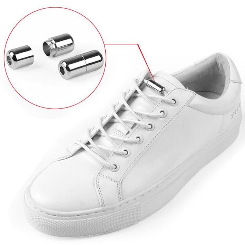 1 Pair New Elastic Shoelaces Metal Lock No Tie Shoelace Kids Adult Lazy Shoes