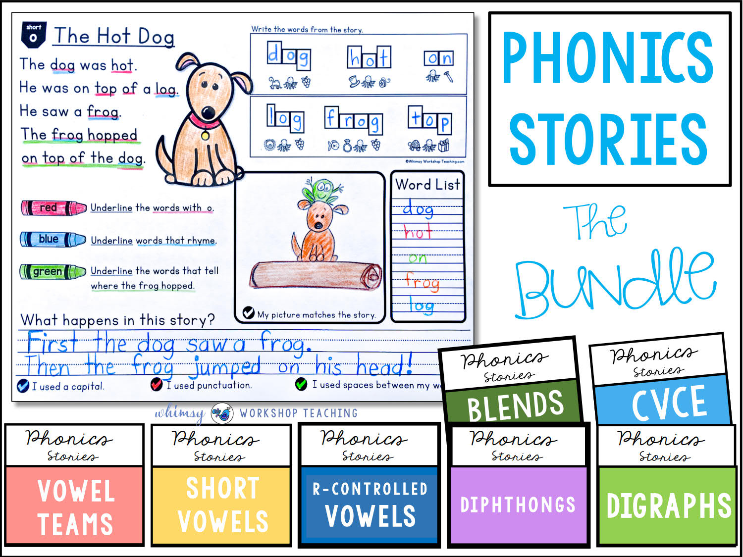Phonics Stories Reading and Writing BUNDLE learning English Short Stories, Phonics Homeschool PDF electronic file
