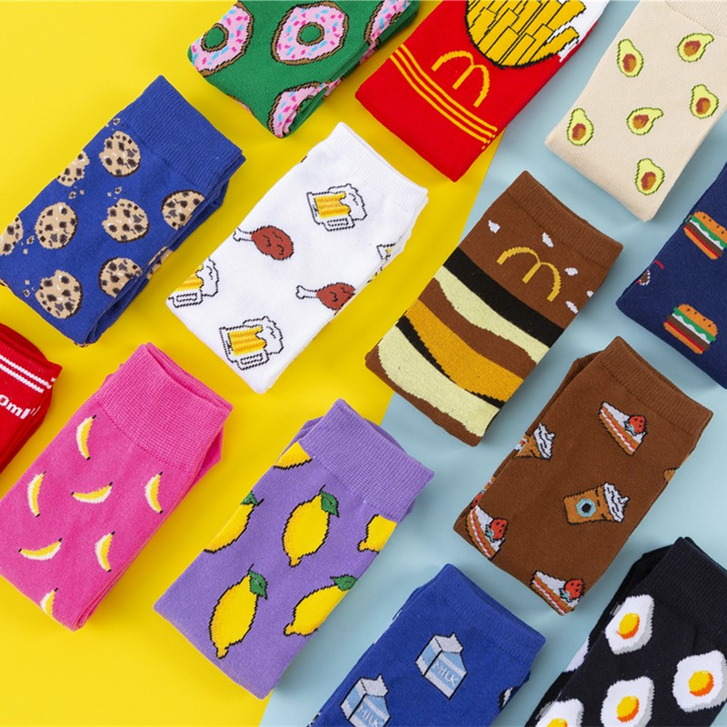 Hot Sales Funny Socks Women Casual Cartoon Fruit Banana Avocado Lemon Egg Cookie Donuts Happy Japanese Harajuku Skateboard Socks