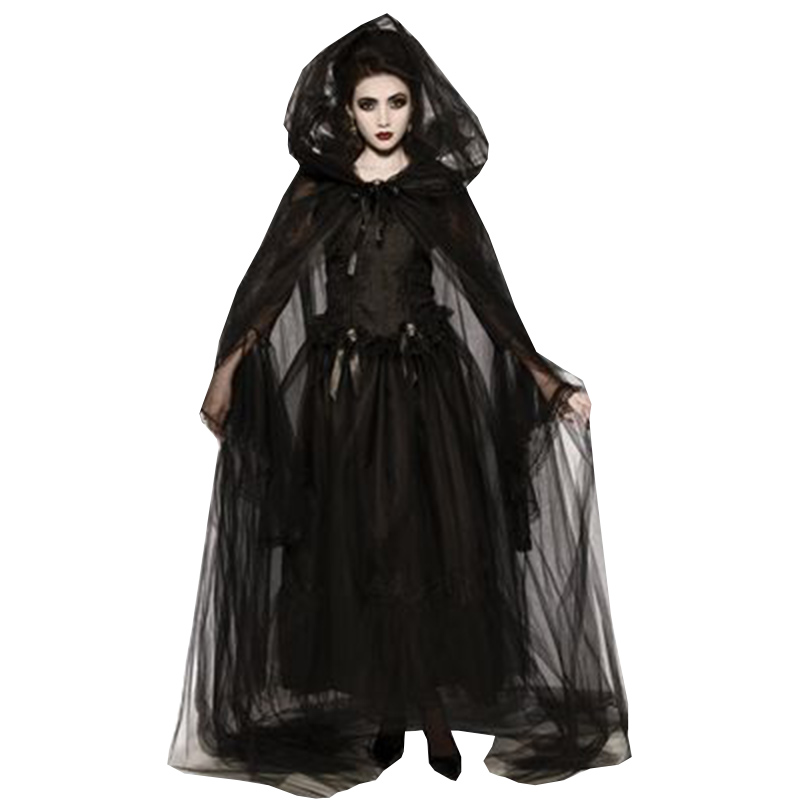 Halloween Evil Witch Cloak Dress with Hat / Gloves Women Mesh Elastic Vampire Cosplay Costumes Stage Performance Costume