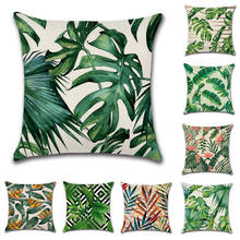 Tropical Plant Palm Leaf Linen Pillowcase Home Decorative Pillowcases for Bedding Pillows Case Square Green Leaves Pillow Cover(China)