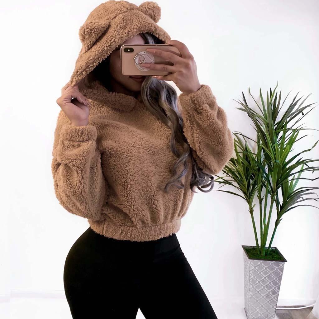 Womens Long Sleeve Crop Top Hoodies Sheep Cat Ear Lumbar Hoodie Pullover Sweater