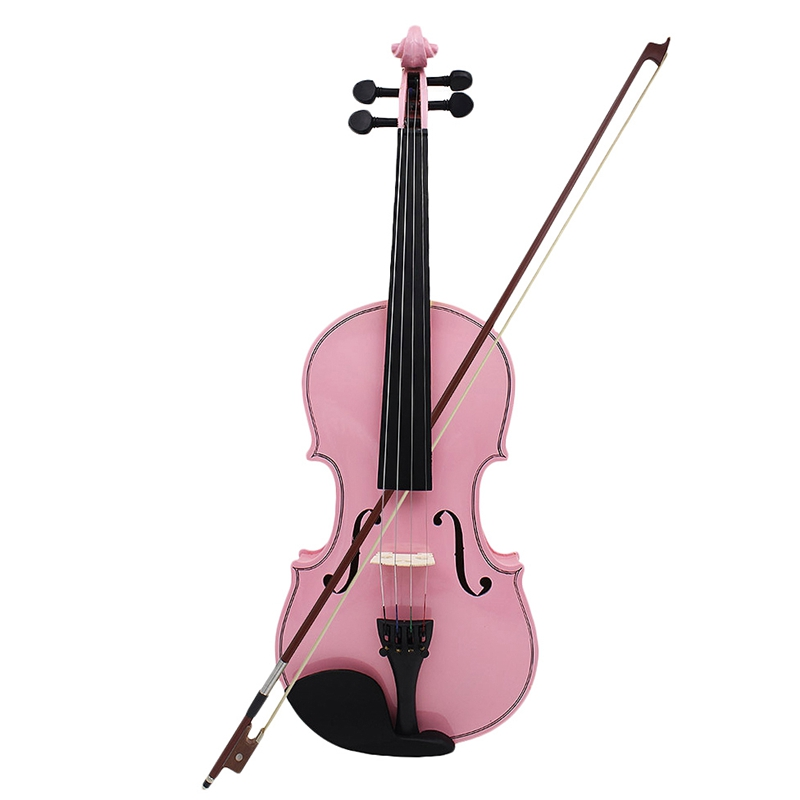 4/4 Full Size Pink Acoustic Violin Fiddle Craft Violino with Case Bow Rosin Violin for Beginner title=