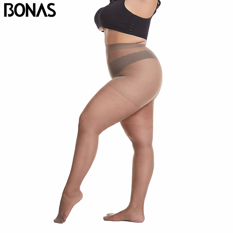 BONAS 20D Ultra-thin Women Plus Size Tights Large Size 120kg Pantyhose Sexy Super Elastic Queen Size Nylon Pantyhose Female New