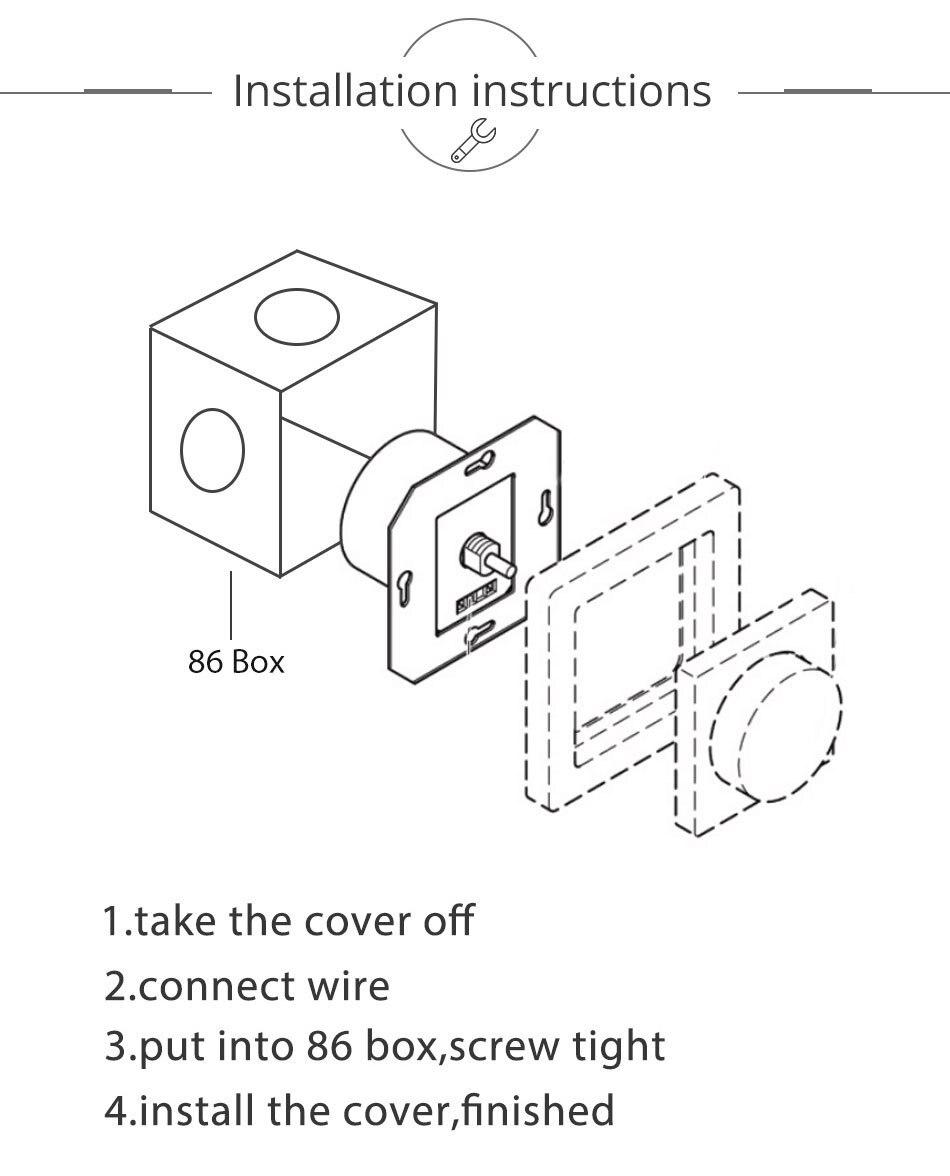 220V 230V 240V AC Led Triac Dimmer 400W Dimming Wall Mount Rotary Panel Manual Adjustable Brightness Controller For LED Lights (12)