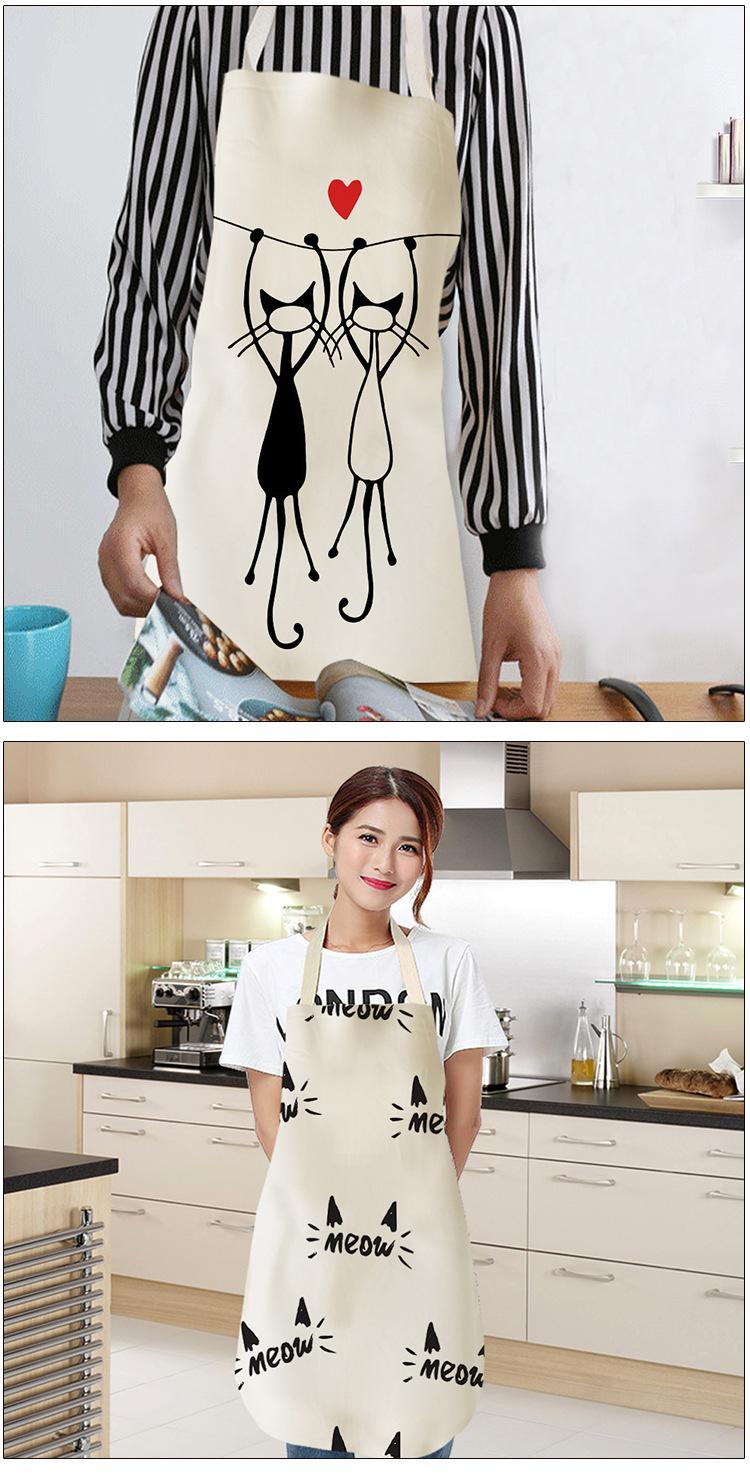 SeaNpem Tablier de cuisine imprim/é chat sans manches en coton et lin pour hommes et femmes Imperm/éable /à leau /à la maison Outils de nettoyage pour adultes Bavoirs Tablier Noir et blanc Cat01.