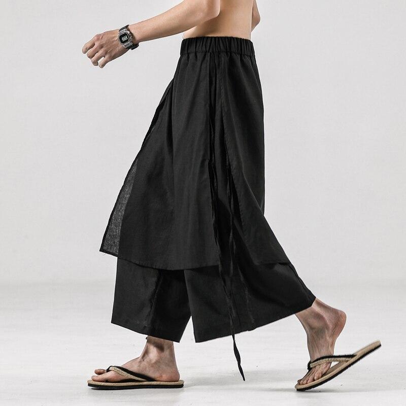 New Male Japan Style Streetwear Loose Kimono Straight Pant Men Summer Cotton Linen Casual Wide Leg Skirt Pant