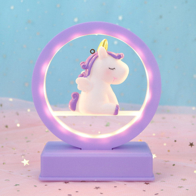 Unicornio luz de la Noche del Unicornio Resina m/úsica LED de la l/ámpara con Pilas de Noche Luz de Mesa Decoraci/ón