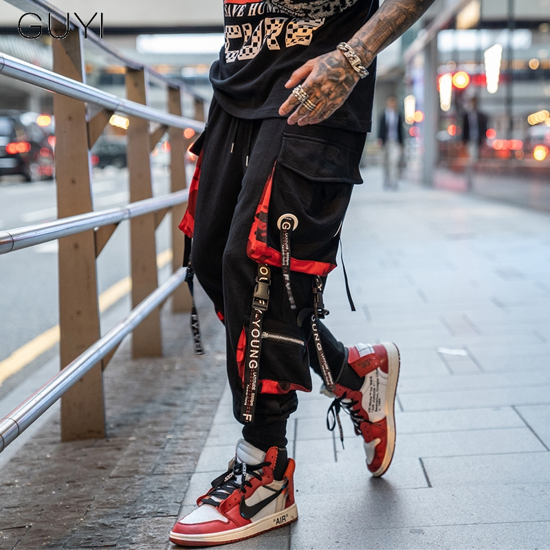 Letter Ribbons Casual Hip Hop Joggers Cargo Pants For Men Block Hit Color Pocket Track title=