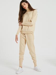 Wixra Sets Costume Sweater-Suits Pockets Turtleneck Long-Trousers Knitted Winter Women's
