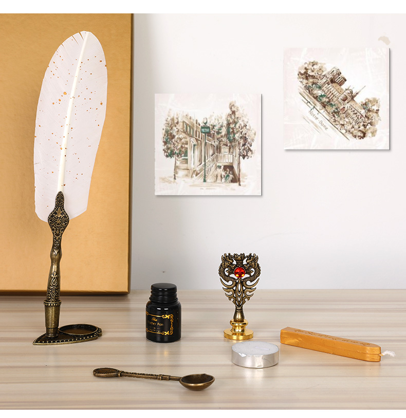 Luxury Fountain Pen Set Vintage Sprinkling Gold Feather Dip Pen Ink Bottle