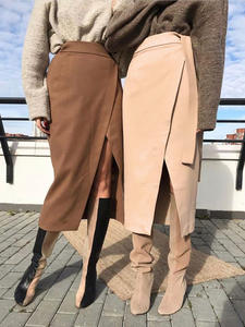 OOTN Wrap Skirt Lace-Up Suede Office Khaki Elegant High-Waist Winter Women Autumn Casual