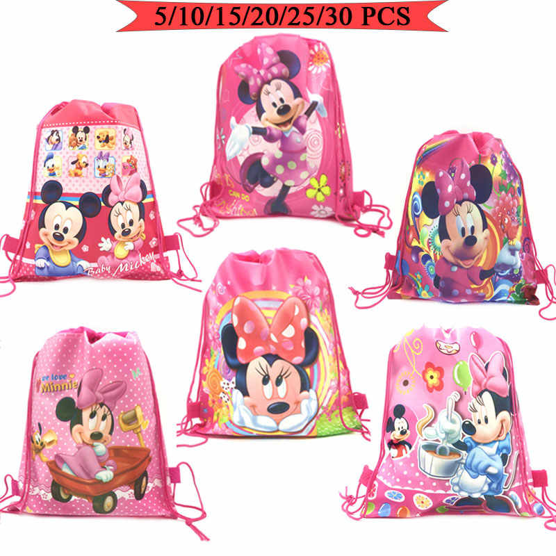 Hot Diseny Mickey Non-Woven Drawstring Bag Cute Backpack For Children