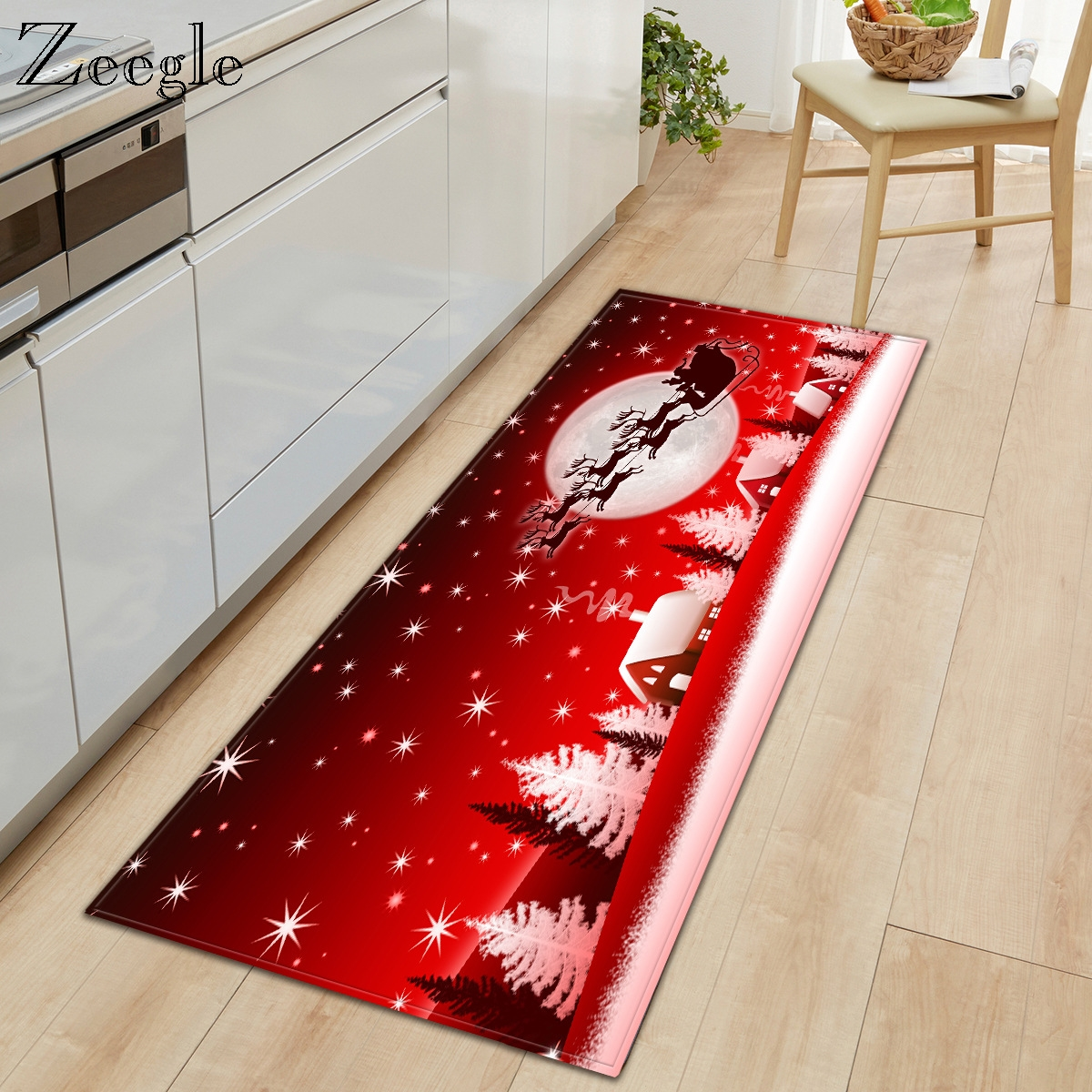 Zeegle Christmas Carept Anti Slip Kitchen Rug Living Room Carpet Soft Foot Mat Hallway Rug Absorbent Bathroom Doormat Shower Mat