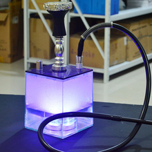 Hookah-Set Hose Pipe Bowl Shisha-Water-Pipe Nargile Acrylic Silicon Chicha with Led-Light