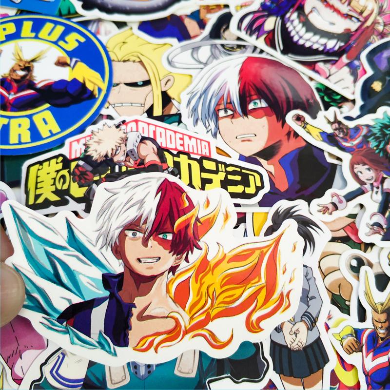 100pcs Anime Luggage Laptop Stickers My Hero Academia Midoriya Todoroki Bakugou