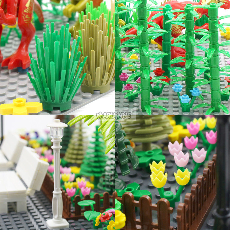 MARUMINE Tree Plant Accessories Parts Building Blocks Flower Green Grass Bush Leaf Jungle DIY Garden Set MOC City Bricks