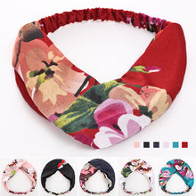 1PC Chiffon Floral Fabric Cross Knotted Headband Bow Korea Headdress Flower Hairband Hoop Hair Band Accessories for Women Ladies(Китай)