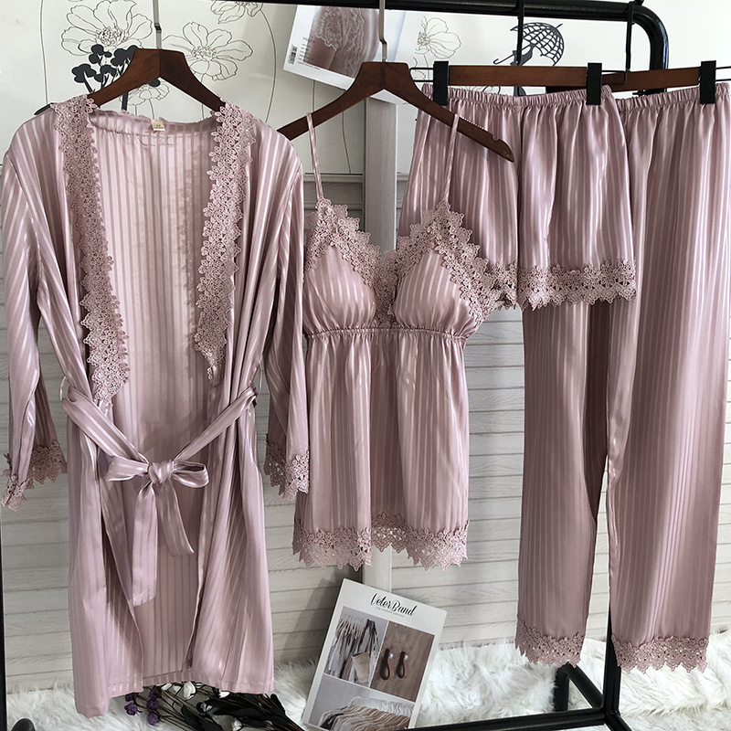 Spring Summer New 4 Pcs Set Women Pajamas Lace Sexy Fashion Pyjamas