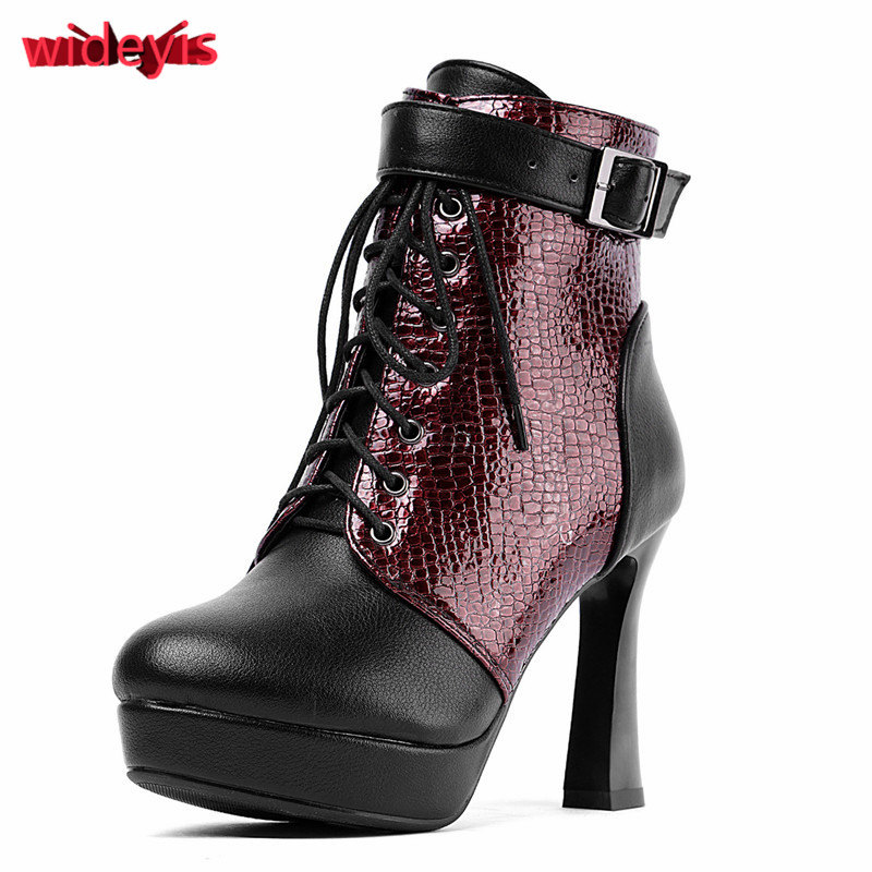 Shoes woman WIDEYIS 2019 winter new leather boots women/'s high heels waterproof platform round head ankle boots large size 33-43