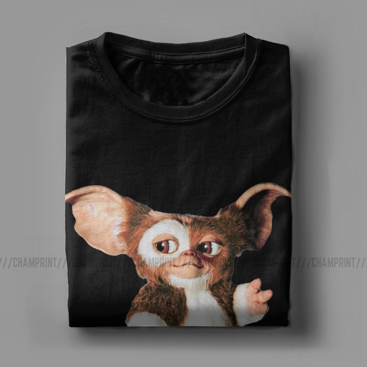 Men's T-Shirt Gremlins Gizmo Cotton Tee Shirt Short Sleeve Gizmo 80s Movie Mogwai Monster T Shirt Round Neck Tops Plus Size