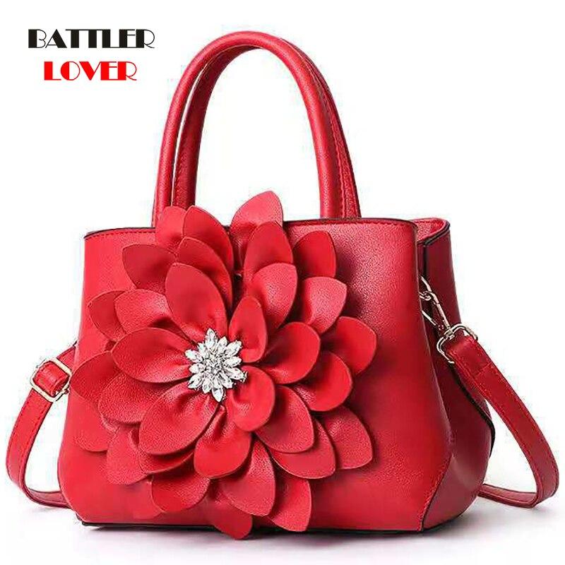 Diamond Designer Women Handbag 3D Flower High Quality PU Leather Tote Bag Female Large Shoulder Bag Girls Ladies Messenger Bags