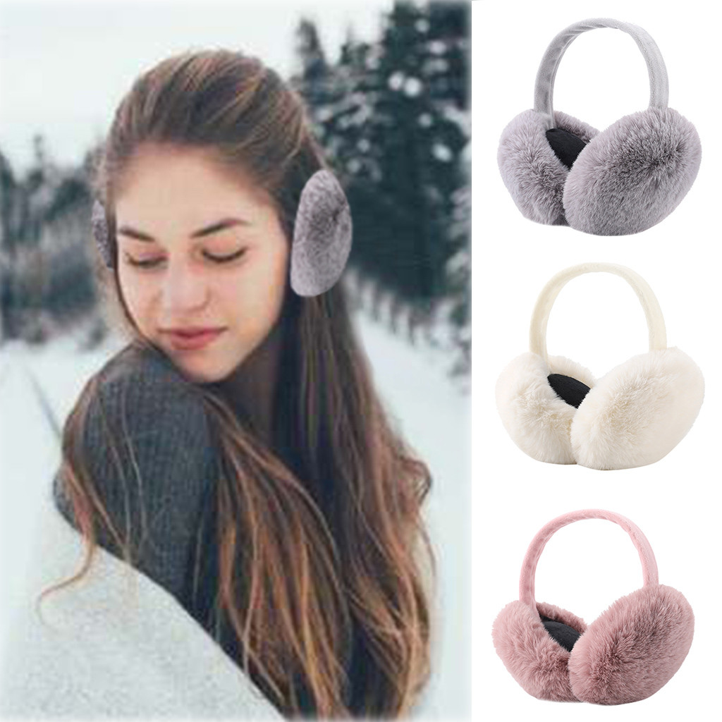 Korea Most Famous Landmarks Winter Earmuffs Ear Warmers Faux Fur Foldable Plush Outdoor Gift