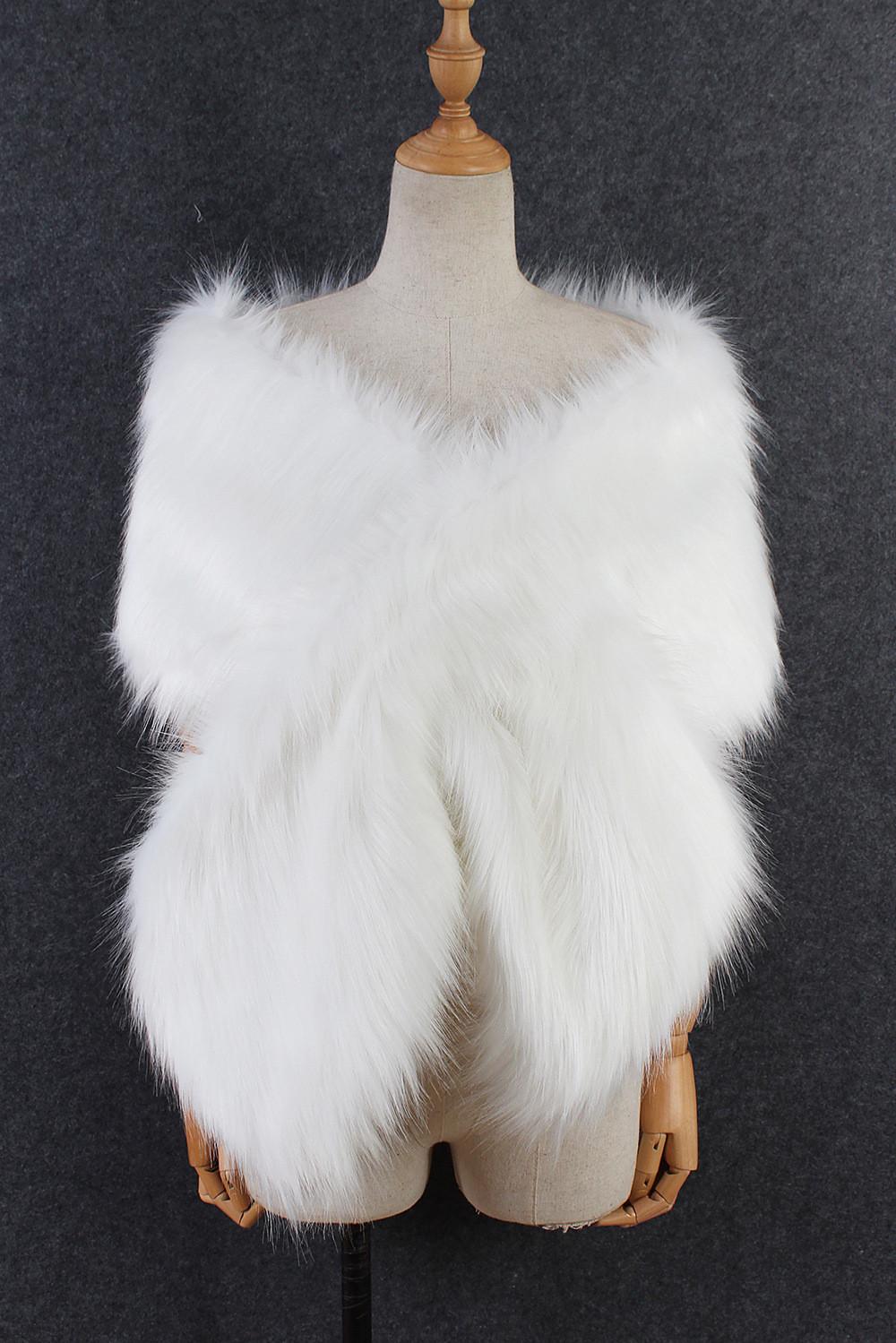 The autumn and winter new imitation fur big cape neck scarf multi-color joker scarf bride dress cross cape (21)