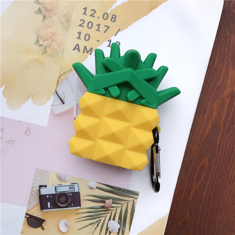 3D Irregular Cute Fruit Pineapple Shockproof Earphone Cases For Apple Airpods 1/2 Silicone Protection Earbud Cover Accessories