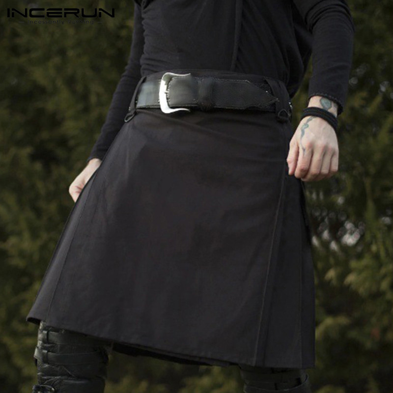 Skirt Kilt Steampunk Scottish INCERUN Traditional Mens Zipper Fashion Retro Holiday-Dress title=