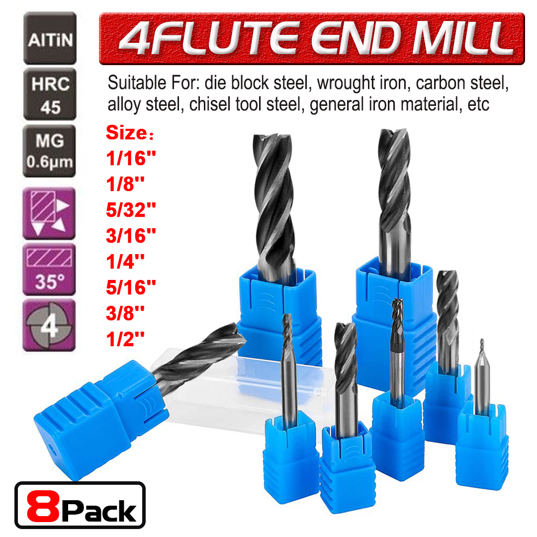 """TiALN COATED 3//16/"""" 4 FLUTE 90 DEGREE CARBIDE DRILL MILL"""