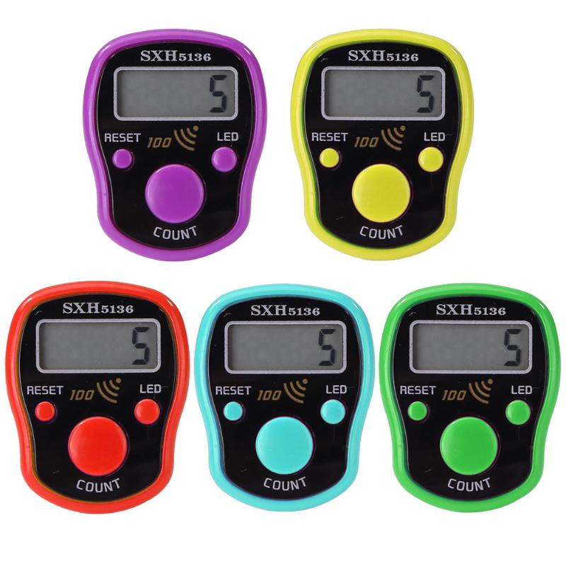 Mini LED Digit LCD Electronic Digital Finger Hand Ring Tally Row Counter Random