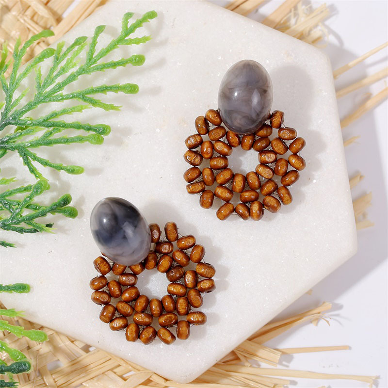 19 Fashion Boho Round Square Geometric Wooden Drop Earrings For Women Bohemian Vintage Wood Beaded Dangle Earring Jewelry Gift 27